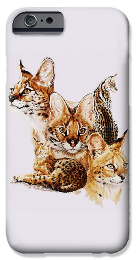 Serval IPhone 6 Case featuring the drawing Adroit by Barbara Keith