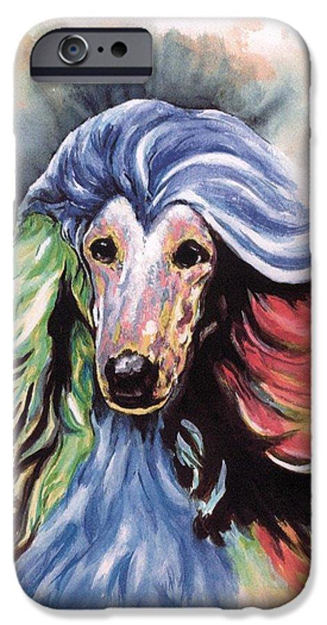 Afghan Hound IPhone 6 Case featuring the painting Afghan Storm by Kathleen Sepulveda