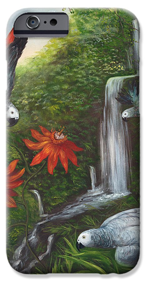 Landscape IPhone 6 Case featuring the painting African Grays by Anne Kushnick