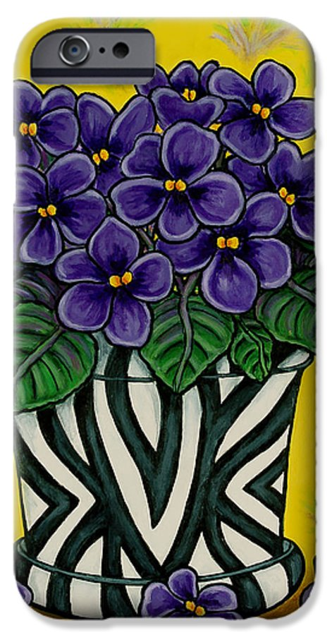 Violets IPhone 6 Case featuring the painting African Queen by Lisa Lorenz