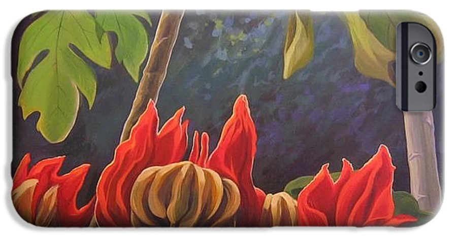 African Tulip IPhone 6 Case featuring the painting African Tulip by Hunter Jay
