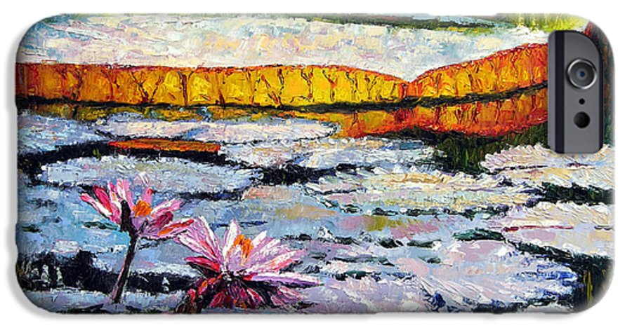 Water Lilies IPhone 6 Case featuring the painting Afternoon Shadows by John Lautermilch
