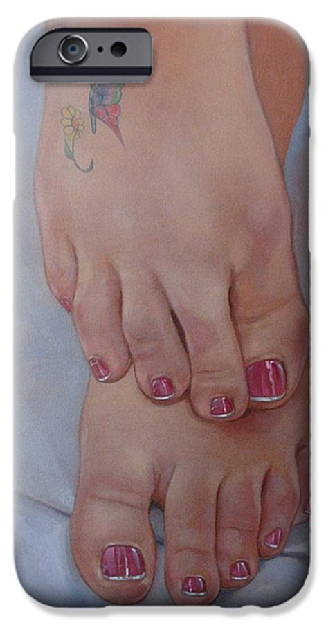 Pretty Feet IPhone 6 Case featuring the painting Aimee by Jerrold Carton