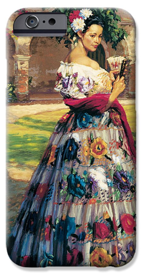 Woman Elaborately Embroidered Mexican Dress. Background Mission San Juan Capistrano. IPhone 6 Case featuring the painting Al Aire Libre by Jean Hildebrant