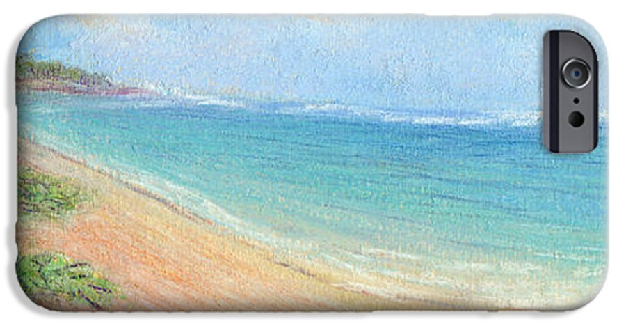 Rainbow Colors Pastel IPhone 6 Case featuring the painting Aliomanu Beach by Kenneth Grzesik