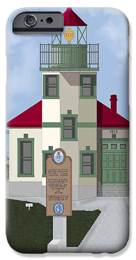 Lighthouse IPhone 6 Case featuring the painting Alki Point On Elliott Bay by Anne Norskog