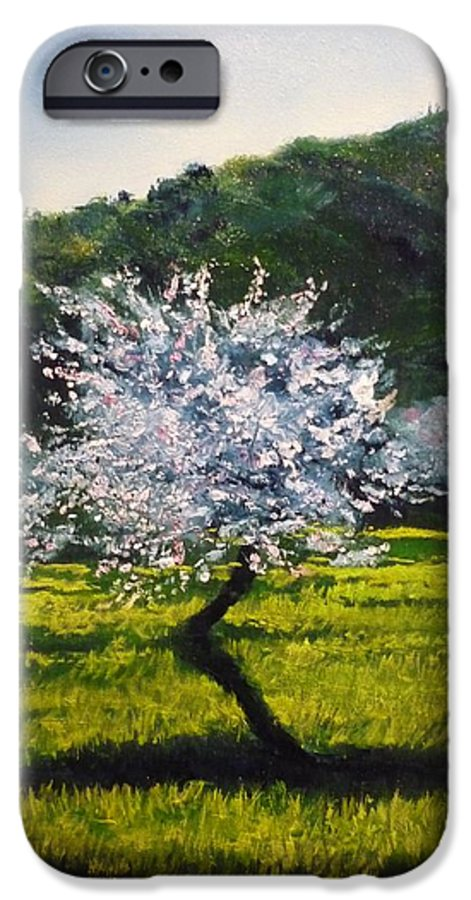 Almond Tree IPhone 6 Case featuring the painting Almond Tree In Blossom by Lizzy Forrester