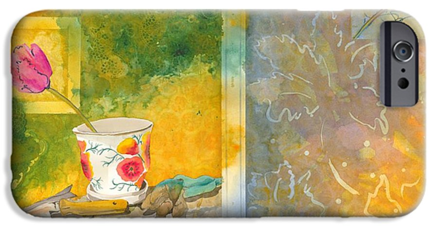 Garden IPhone 6 Case featuring the painting Along The Garden Wall by Jean Blackmer
