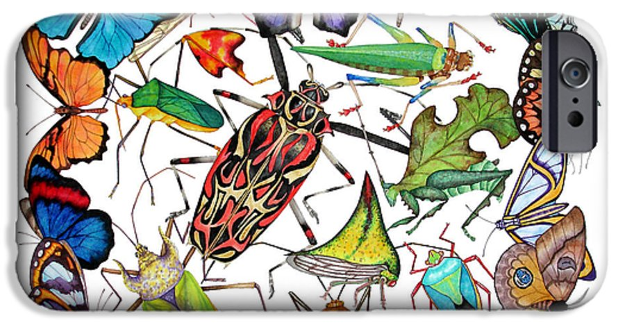 Insects IPhone 6 Case featuring the painting Amazon Insects by Lucy Arnold