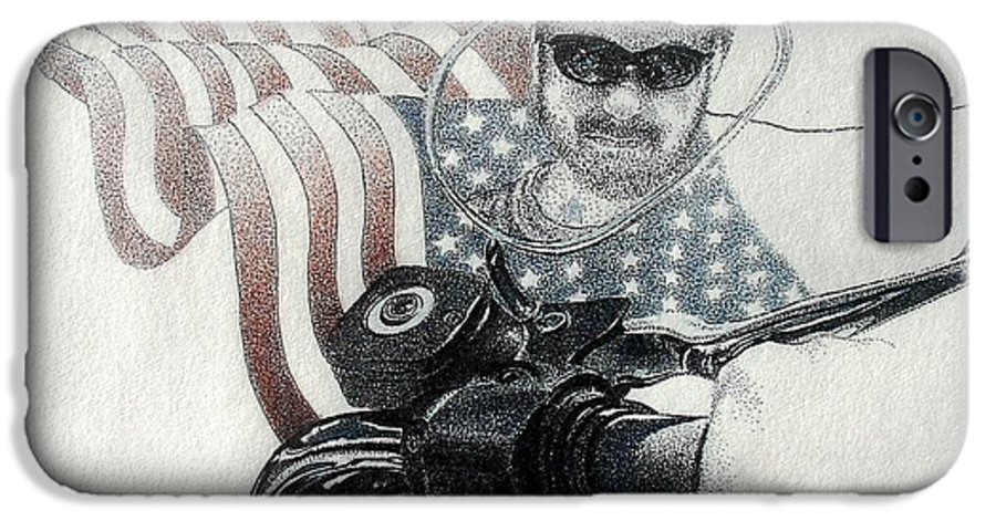 Motorcycles Harley American Flag Cycles Biker IPhone 6 Case featuring the drawing American Rider by Tony Ruggiero