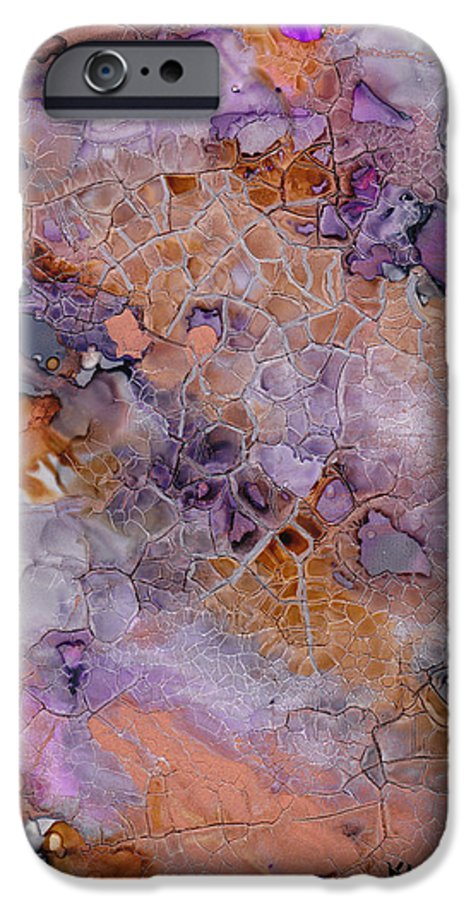 Abstract IPhone 6 Case featuring the mixed media Amethyst And Copper by Susan Kubes