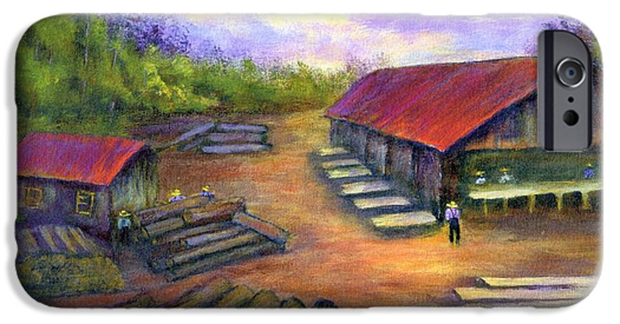 Amish IPhone 6 Case featuring the painting Amish Lumbermill by Gail Kirtz
