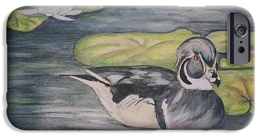Wood Duck IPhone 6 Case featuring the painting Among The Lillypads by Debra Sandstrom