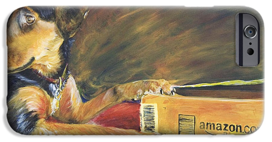 Dog IPhone 6 Case featuring the painting And Youre Done by Nik Helbig