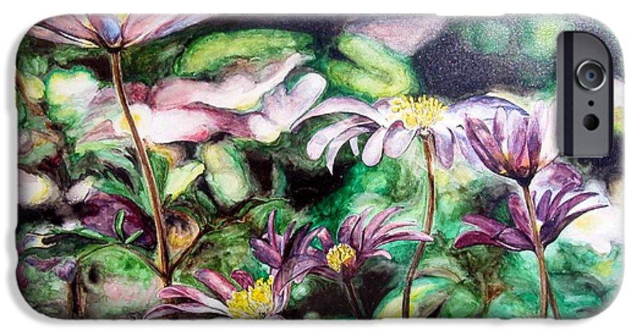 Floral Painting IPhone 6 Case featuring the painting Anemones Japonaises by Muriel Dolemieux