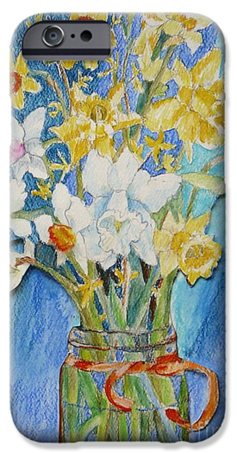 Flowers IPhone 6 Case featuring the painting Angels Flowers by Jan Bennicoff