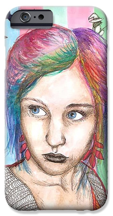 Stars IPhone 6 Case featuring the drawing Anne Sofie by Freja Friborg