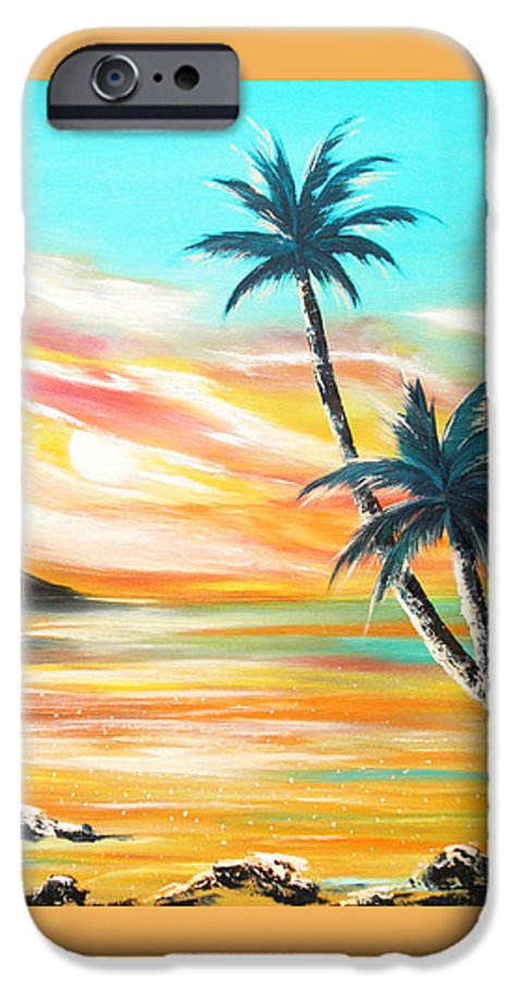 Sunset IPhone 6 Case featuring the painting Another Sunset In Paradise by Gina De Gorna