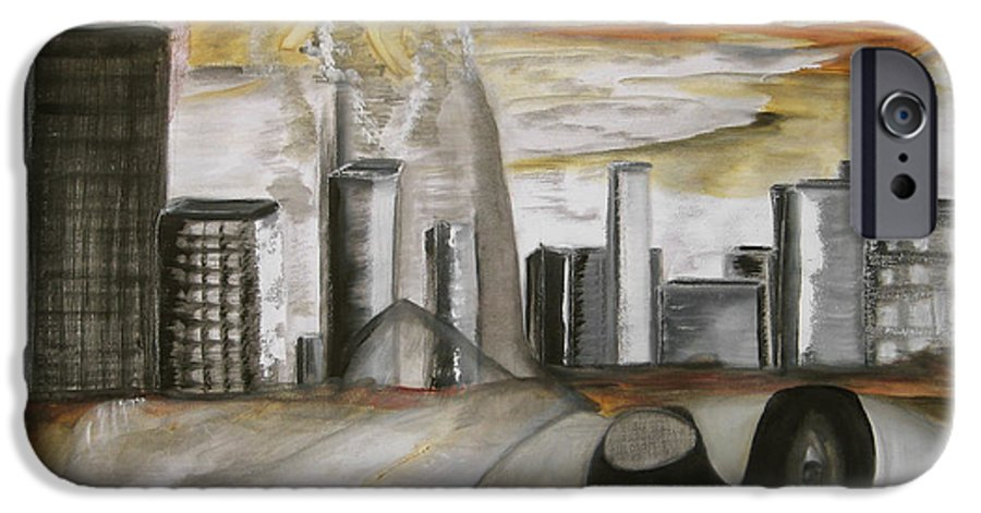 Apocalypse City End Futurism Inch Nails Nin Nine Oil Painting Times Year Zero IPhone 6 Case featuring the painting Another Version Of The Truth by Darkest Artist
