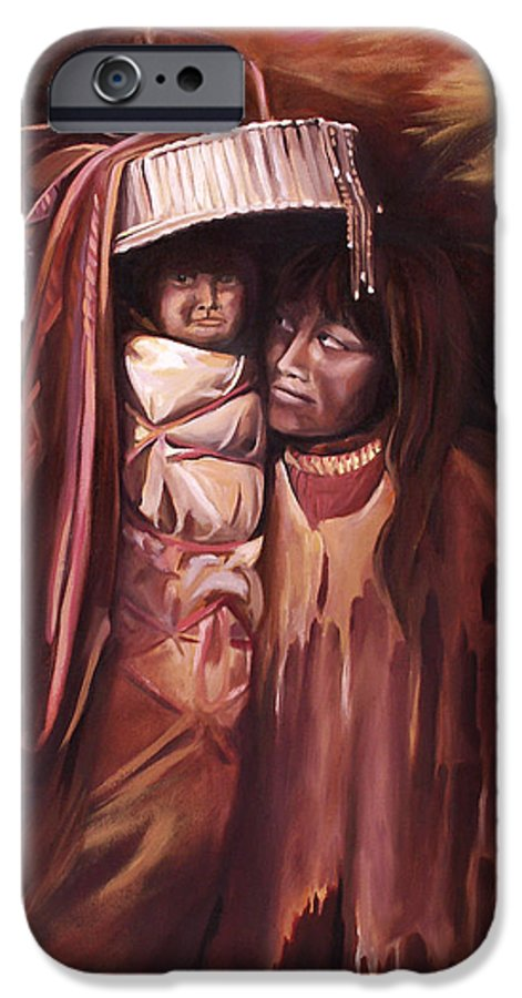 Native American IPhone 6 Case featuring the painting Apache Girl And Papoose by Nancy Griswold
