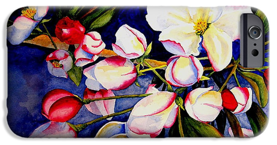 Apple Blossoms IPhone 6 Case featuring the painting Apple Blossom Time by Karen Stark