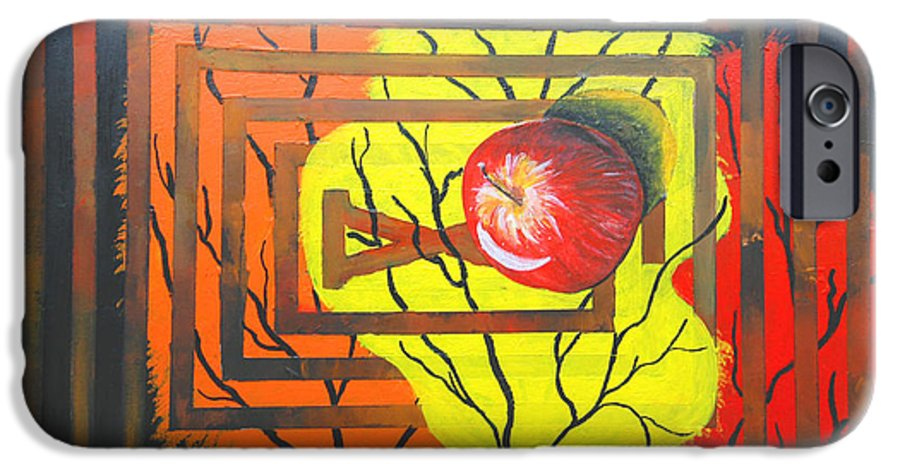 Abstract IPhone 6 Case featuring the painting Apple by Olga Alexeeva