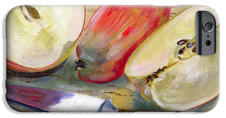 Still-life IPhone 6 Case featuring the painting Apple by Sarah Lynch