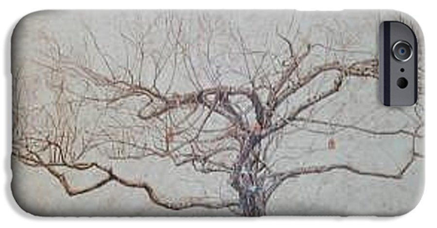 Apple Tree IPhone 6 Case featuring the painting Apple Tree In Winter by Leah Tomaino