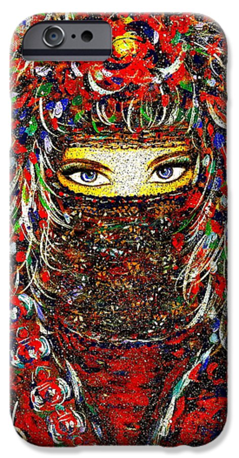 Woman IPhone 6 Case featuring the painting Arabian Eyes by Natalie Holland