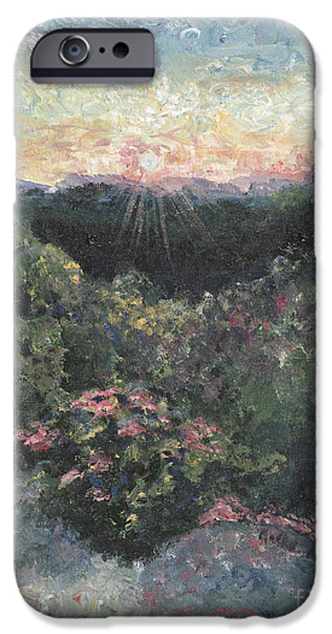 Landscape IPhone 6 Case featuring the painting Arkansas Mountain Sunset by Nadine Rippelmeyer