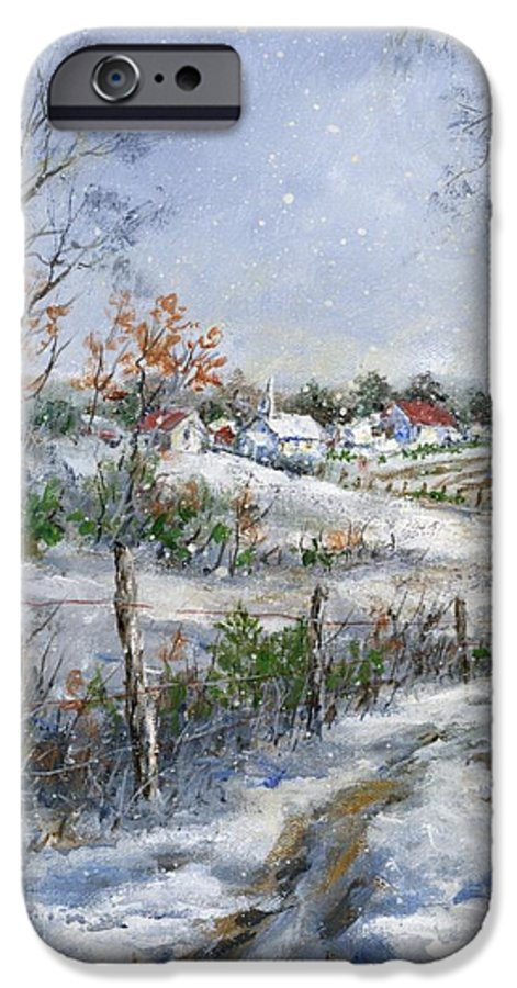 Snowfall IPhone 6 Case featuring the painting Around The Bend Sold by Virginia Potter