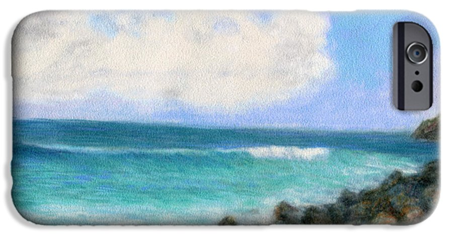Rainbow Colors Pastel IPhone 6 Case featuring the painting Around The Point by Kenneth Grzesik