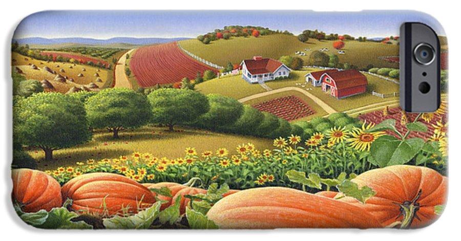 Pumpkin IPhone 6 Case featuring the painting Farm Landscape - Autumn Rural Country Pumpkins Folk Art - Appalachian Americana - Fall Pumpkin Patch by Walt Curlee