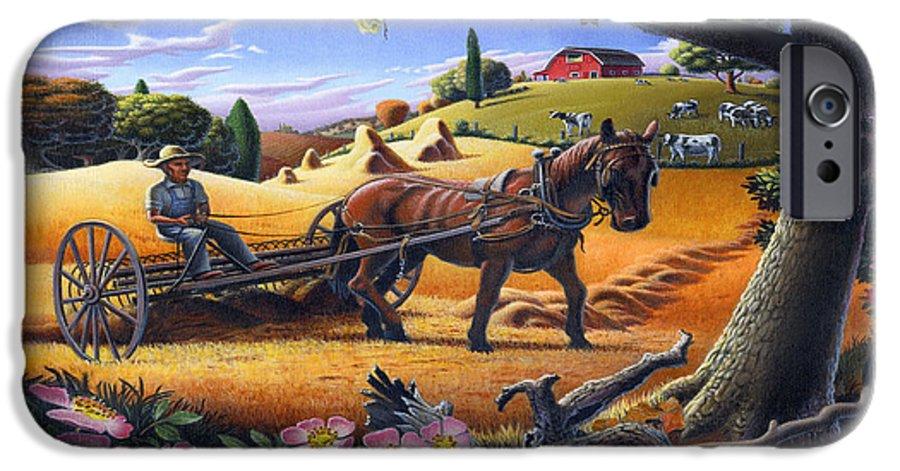 Raking Hay IPhone 6 Case featuring the painting Raking Hay Field Rustic Country Farm Folk Art Landscape by Walt Curlee