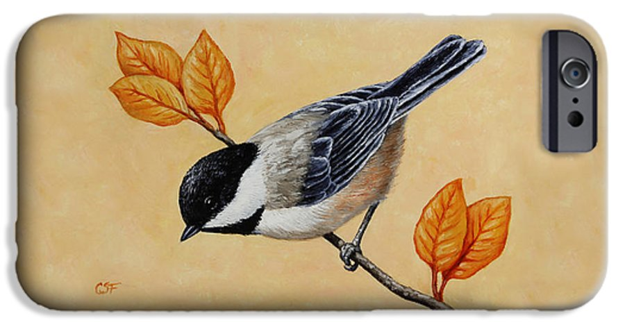 Bird IPhone 6 Case featuring the painting Chickadee And Autumn Leaves by Crista Forest