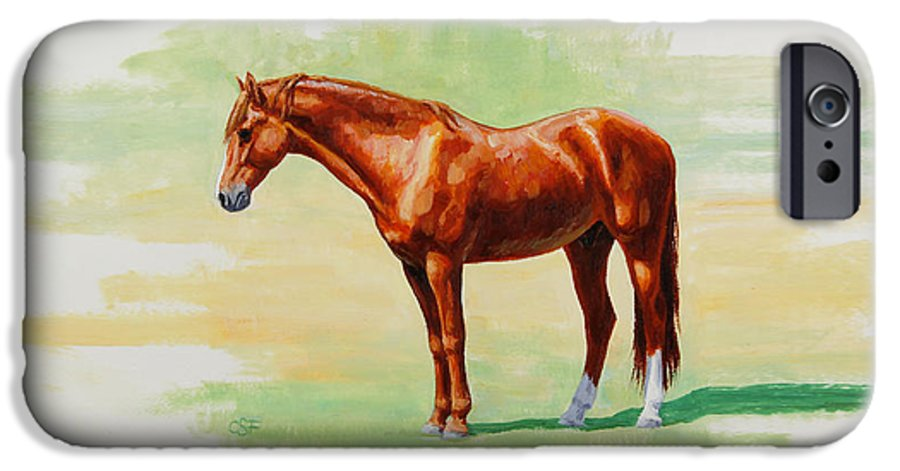 Horse IPhone 6 Case featuring the painting Roasting Chestnut - Morgan Horse by Crista Forest