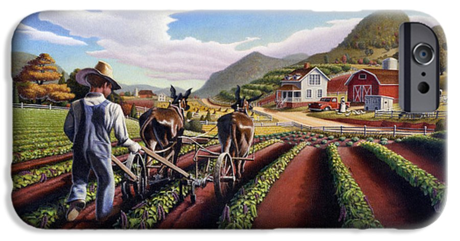 Appalachian IPhone 6 Case featuring the painting Appalachian Folk Art Summer Farmer Cultivating Peas Farm Farming Landscape Appalachia Americana by Walt Curlee