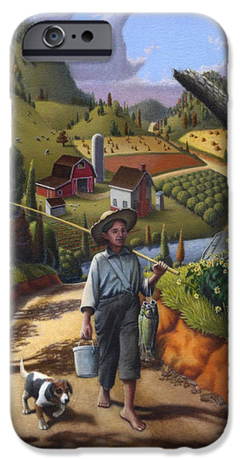 Boy And Dog IPhone 6 Case featuring the painting Boy And Dog Farm Landscape - Flashback - Childhood Memories - Americana - Painting - Walt Curlee by Walt Curlee