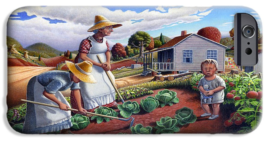 Farm Family IPhone 6 Case featuring the painting Family Vegetable Garden Farm Landscape - Gardening - Childhood Memories - Flashback - Homestead by Walt Curlee