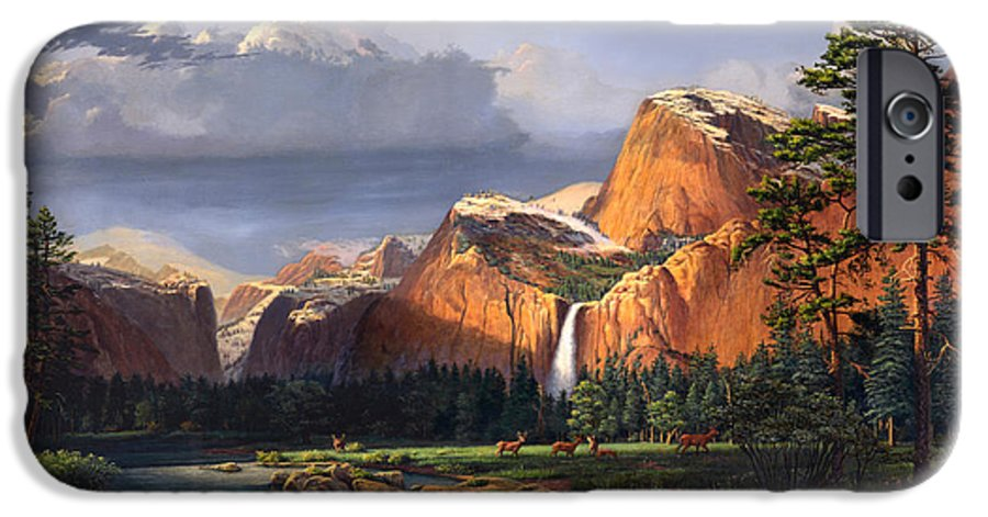 American IPhone 6 Case featuring the painting Deer Meadow Mountains Western Stream Deer Waterfall Landscape Oil Painting Stormy Sky Snow Scene by Walt Curlee
