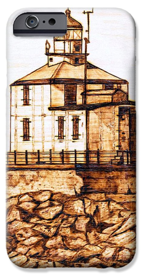 Lighthouse IPhone 6 Case featuring the pyrography Ashtabula Harbor by Danette Smith