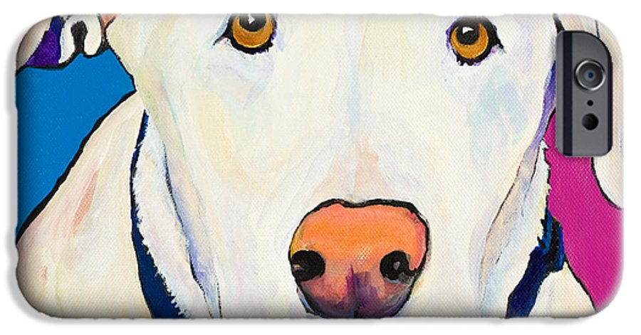 White Lab Yellow Lab Animal Paintings Golden Eyes Square Format Dogs Pets Rescued IPhone 6 Case featuring the painting Aslinn by Pat Saunders-White