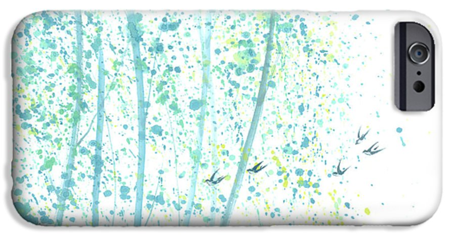 Birds Flying Through An Aspen Forest. This Is A Contemporary Chinese Ink And Color On Rice Paper Painting With Simple Zen Style Brush Strokes. IPhone 6 Case featuring the painting Aspen Forest by Mui-Joo Wee
