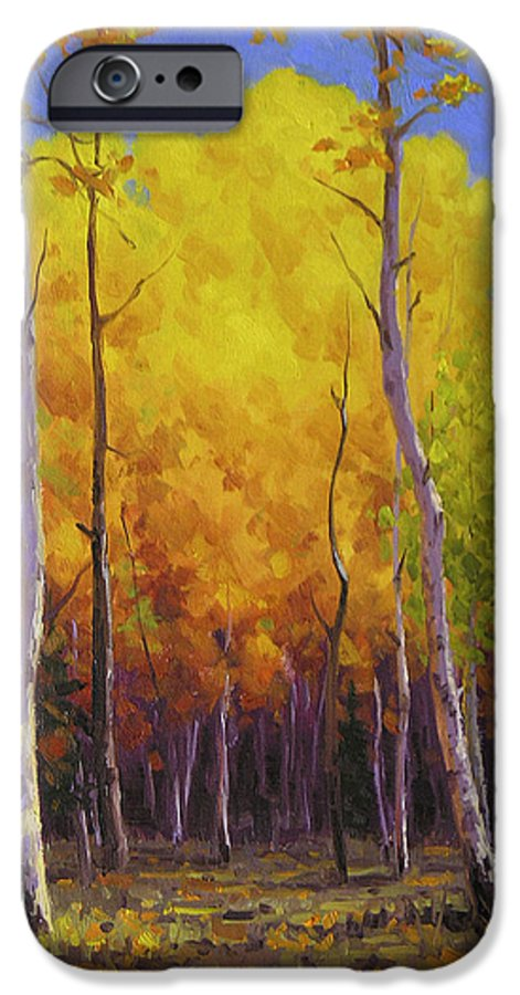 Landscape IPhone 6 Case featuring the painting Aspen Glow by Cody DeLong