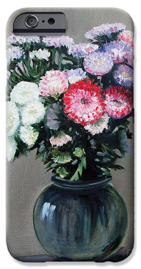 Flowers IPhone 6 Case featuring the painting Asters by Paul Walsh