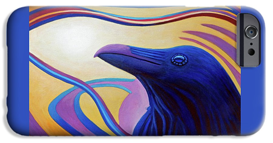 Raven IPhone 6 Case featuring the painting Astral Raven by Brian Commerford