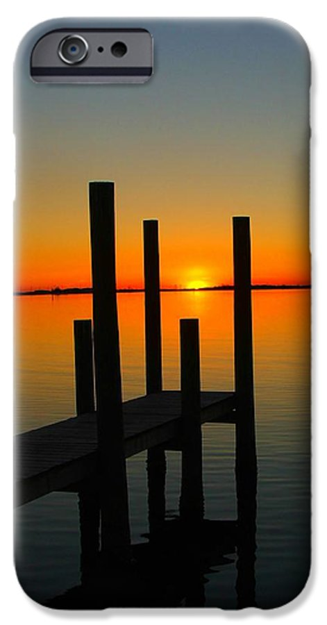 Sunset IPhone 6 Case featuring the photograph At The Pier by Judy Waller
