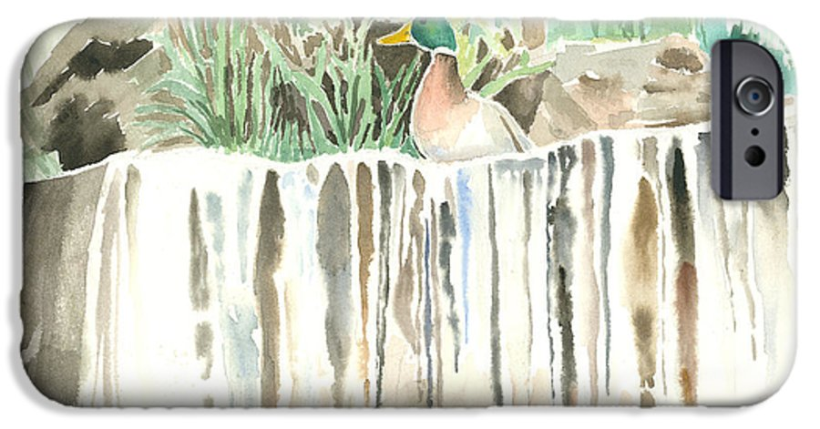 Waterfall IPhone 6 Case featuring the painting Atop The Waterfall by Arline Wagner