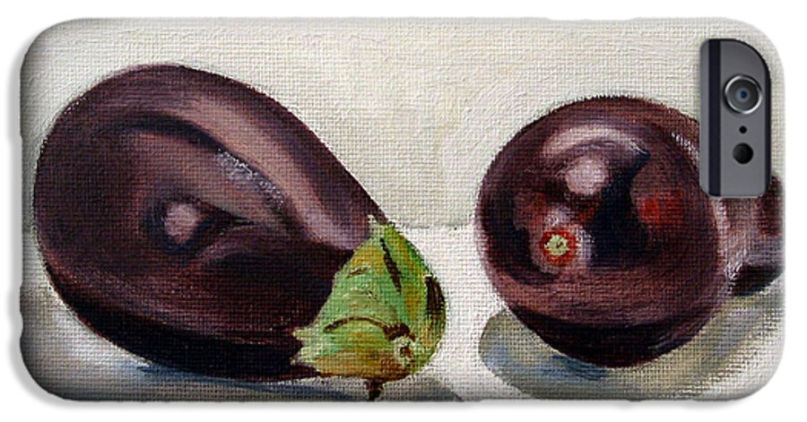 Still-life IPhone 6 Case featuring the painting Aubergines by Sarah Lynch