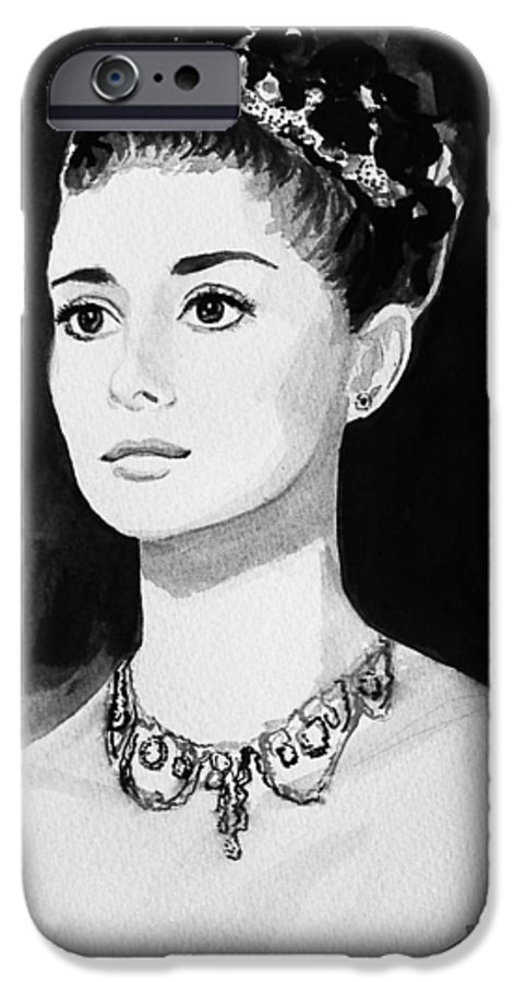Audrey Hepburn IPhone 6 Case featuring the painting Audrey by Laura Rispoli